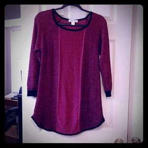 Heathered hot pink with black sweater